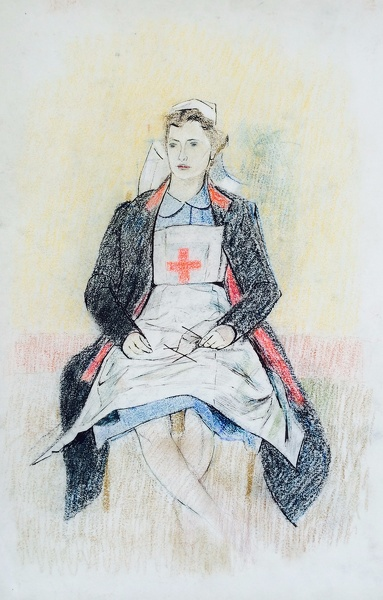 Artist Evelyn Dunbar: Red Cross nurse knitting socks, 1941
