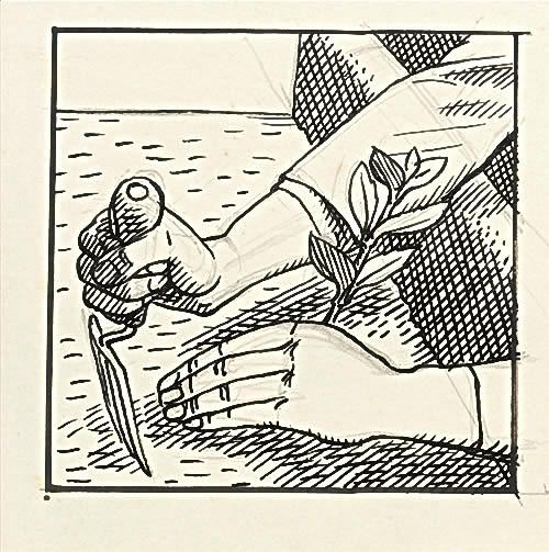 Design for Gardener's Choice- hands with trowel,  circa 1935 -