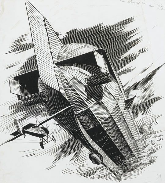 Artist Raymond Sheppard: Morane Saulnier no. 3253 piloted by Reginald Alexander John Warneford attacking Zeppelin LZ-37, north of Ostend 1915