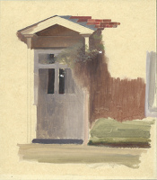 Artist Winifred Knights: The front door of Line Holt Farm House