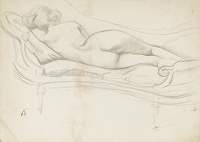 Sleeping nude on a sofa