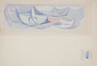 Artist Patrick Venton: Study for Boats and lobster baskets, Mural Design for a school in Birmingham, circa 1950