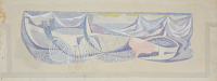 Artist Patrick Venton: Boats and lobster baskets, Mural Design for a school in Birmingham, circa 1950