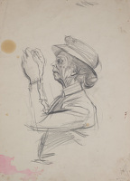 Artist Alan Sorrell: Studyof Mrs Turner, for the mural at Turners Hardware shop in Hadleigh High Street, circa 1956