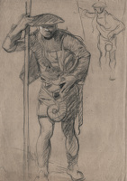 Artist Frank Brangwyn: Attendent with Stave, study for panel 4, Skinners