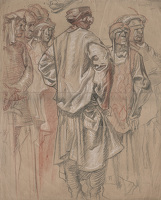 Artist Frank Brangwyn: Courtiers, study for Cuyahoga Court House, USA