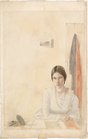 Artist Winifred Knights: Self-portrait sketching at a table