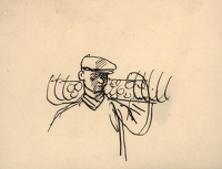 Sketch of man carrying a hay-tedder