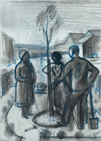 Artist Alan Sorrell: Figures planting a tree
