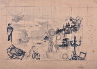 Artist Alan Sorrell: Study for mural for the canteen of John D. Francis Ltd, Fazakerley, Liverpool, 1947