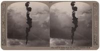 Artist Anonymous: Stereoscopic print: The trail of smoke from the burning remnants of an enemy observation balloon