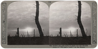 Artist Anonymous: Stereoscopic print: The Golden sun goes down in peace oer the desolate waste of No mans Land on the Somme.