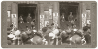 Artist Anonymous: Stereoscopic print: Lord Kitchener with the Lord Mayor addressing a recruiting meeting