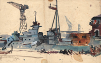 Artist Charles Cundall: Study for The Hipper at Kiel, c. 1945