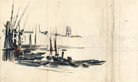 Artist Charles Cundall: Study of London docks