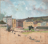 Artist Charles Cundall: Study for Hastings Cricket Ground, Festival Week, Hastings, c.1952