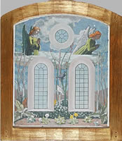 Artist Charles Mahoney: Design for the wall above the altar at Campion Hall, Two Angels Overlooking a Garden