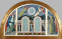 Artist Charles Mahoney: Design for the altar wall, Annunciation in an allotment