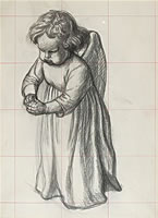 Artist Charles Mahoney: Study of a grumpy cherub, for Campion Hall, early 1940s