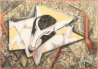 Artist Edith Lawrence: Billy Goats Grazing in Woodland