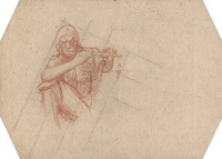 Artist Frank Brangwyn: Man Playing Flute, study for panel 3, Skinners