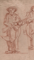 Artist Frank Brangwyn: Study of Man Carrying Rifle, Study for Jefferson City