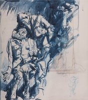 Artist Frank Brangwyn: Two Wounded Soldiers (study for M1403), 1918-1921, ink drawing, 40.2x35cm