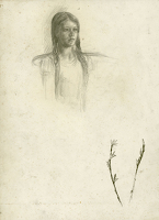 Artist Geoffrey Hamilton Rhoades: Sheet of studies: Portrait of a young girl and study of Broom