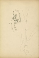 Artist John Nash: Study of a model, head and shoulders, three quarter view, chin resting on hand