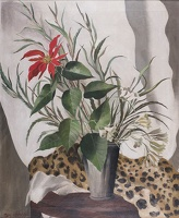 Artist Mary Adshead: Still life of red lily with leopard skin