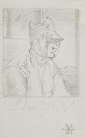 Artist Robert Austin: Private with bandage, travelling in a railway compartment, circa 1918