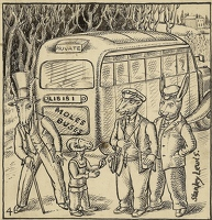 Artist Stanley Lewis: Adventures in Animal Town, illustration 4; Moles Buses