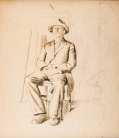 Artist Stanley Lewis: Study for Hyde Park, circa 1930, seated man seated extreme right