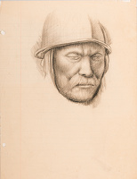 Artist Stanley Lewis: Study of a roundhead