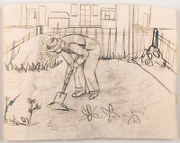 Artist Stanley Lewis: Digging the allotement, mid 1920s