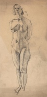 Artist Stephen Bone: Full lenght standing female nude, 3/4 frontal view