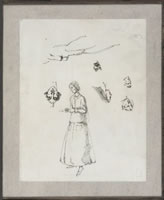 Artist Winifred Knights: Sheet of Figure. Studies with self-portrait, circa 1922
