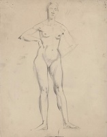 Artist Winifred Knights: Full length standing nude, hands on hips (recto); rear view (verso)