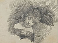 Sleeping woman head and shoulders