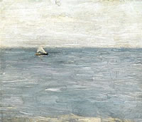Seascape with sailing boat