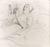 Portrait of Winifred Knights reading