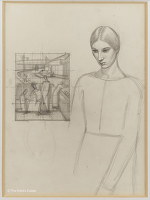 Artist Winifred Knights: Compositional Figure study with self-portrait