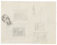 Artist Winifred Knights: Sheet of studies with self-portrait for Design for Wall Decoration