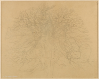 Artist Winifred Knights: Study of a Tree in Winter for Scenes from the Life of Saint Martin of Tours