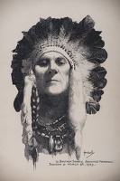 Artist John Hassall: Self Portrait with Indian headdress, 8 March 1939