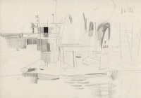 Artist Kenneth Rowntree: Yachts and boats outsdie Club House