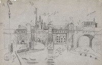Artist Kenneth Rowntree: Townscape with bridge over river