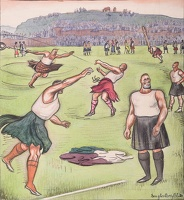 Artist Douglas Percy Bliss: Satires of Highland Gatherings; Heavy Events at the Strathbannock Highland Gathering, circa 1935
