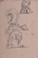 Sheet of sketches with man sheering...