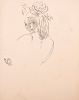 Recto: Study of a woman glancing...